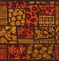 Hawaiian elements fabric patchwork wallpaper vector