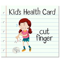 Health card with girl cutting finger vector image