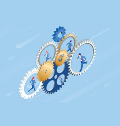 isometric businessmen running in gear wheel vector image
