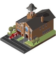 Isometric firehouse and firetruck vector