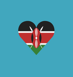 kenya flag icon in a heart shape in flat design vector image