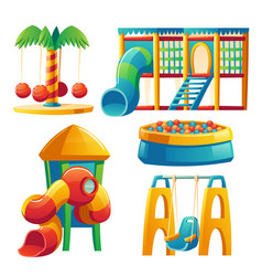 kids playground with carousel and slide vector image