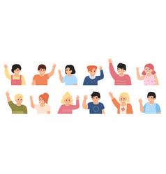 kids waving hands cute children raising hands vector image
