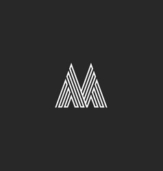 Letter m logo hipster initial mockup thin broken vector