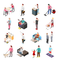 Life ordinary people isometric icons vector