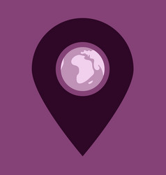 Location icon with globe in middleflat style for vector
