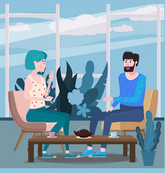 loving couple is drinking tea in cafe a man and a vector image