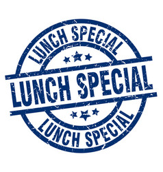 Lunch special blue round grunge stamp vector