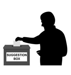 Man putting paper in suggestion box vector