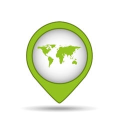 map pin green world icon vector image