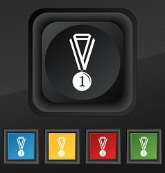 medal for first place icon symbol Set of five vector image