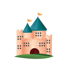medieval red brick castle tower with small windows vector image