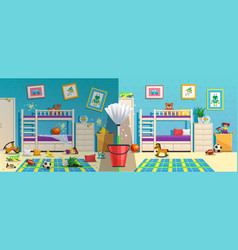 Messy children room before after vector