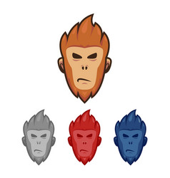 Monkey ape head face logo mascot character set in vector