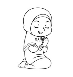 Moslem girl praying bw vector