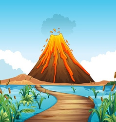 Nature scene with volcano eruption by the lake vector
