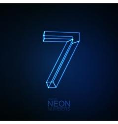Neon 3D number 7 vector image