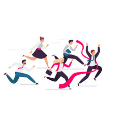 Office team crosses finish line team leader tears vector