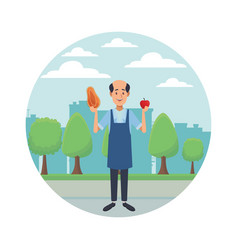 Old grocery man cartoon vector