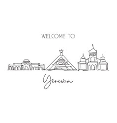 One continuous line drawing yerevan city vector