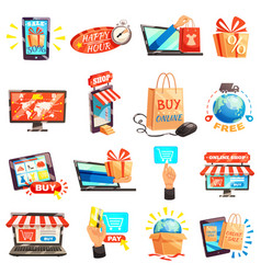 online store icons collection vector image