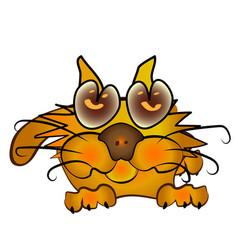 orange cartoon kitten vector image