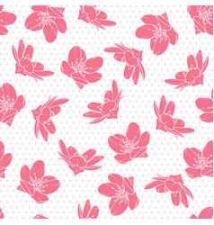 Pink cherry sakura flowers polka dot pattern vector