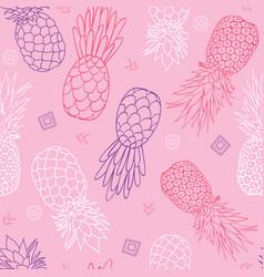 Pink purple pineapples doodle texture vector