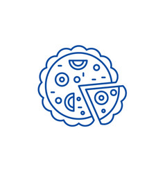 pizza line icon concept pizza flat symbol vector image