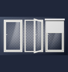 plastic door pvc plastic profile white vector image
