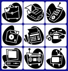 Retro computer icons vector