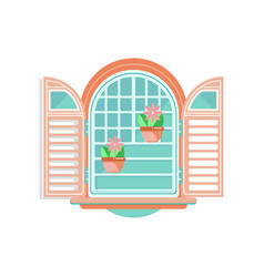 retro window with shutters and flowerpots vector image