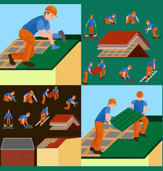 roof construction worker repair home build vector image
