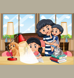Scene with people staying at home with family vector