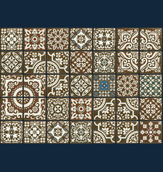 seamless patchwork tile with victorian motives vector image