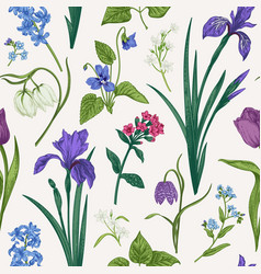Seamless pattern with flowers and herbs vector