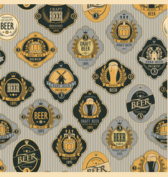 seamless pattern with various beer labels vector image