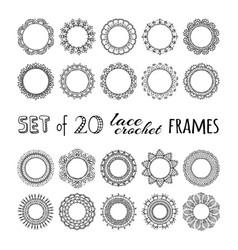 Set 20 lace crochet round frames vector