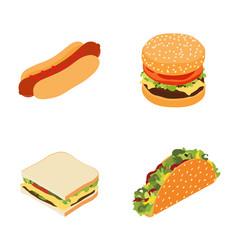 set fast food hotdog sandwich burger vector image