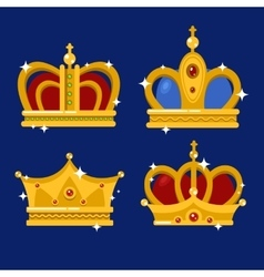 set gold king crown or pope tiara vector image