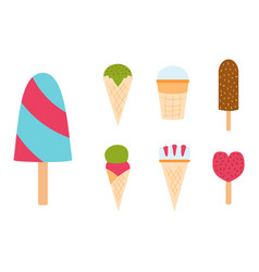 Set ice cartoon colorful cream dessert vector