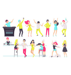 set people drinking alcohol drinks and dancing vector image