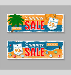 set summer sale banners vector image