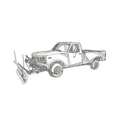 Snow plow truck doodle art vector