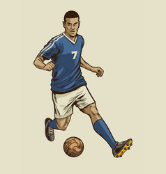 Soccer player in hand drawing vintage style vector