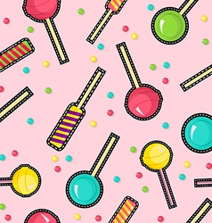 Stitch patches sweet lollipop seamless pattern vector image