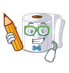 Student character toilet paper rolled on wall vector