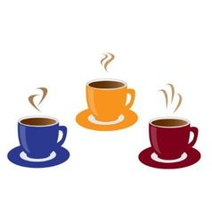 three cups of coffee vector image