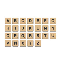 tile alphabet for puzzle word game vector image