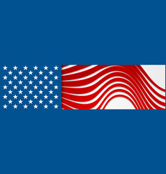 usa colors and stars abstract bright wavy banner vector image